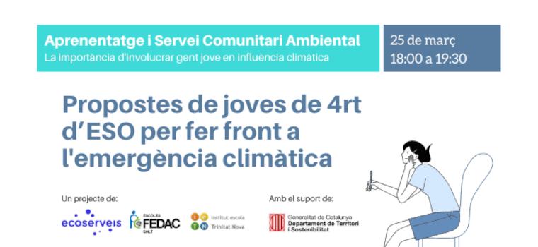jóvenes de 4º de ESO de Salt y Barcelona presentan propuestas de acción climática